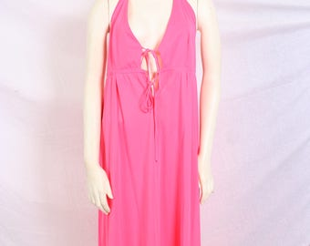 vintage 60s Pink Halter Top Night Gown / Beach Cover up - Retro, maxi, hostess