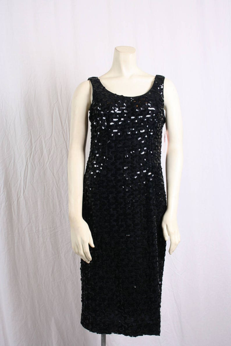 e414250b Vintage 80s black SEQUIN EVENING DRESS prom gown Bodycon | Etsy