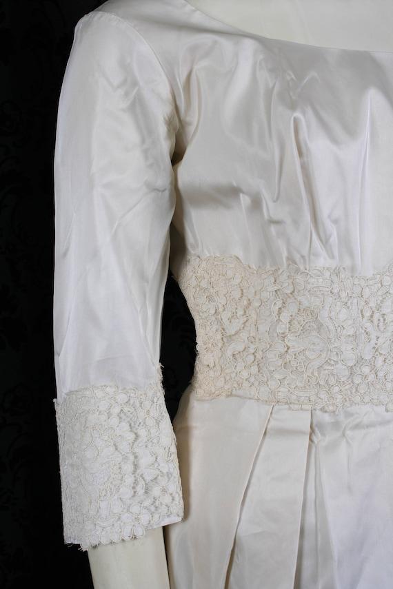 vintage 60s ivory TAFFETA WEDDING DRESS mini gown… - image 7
