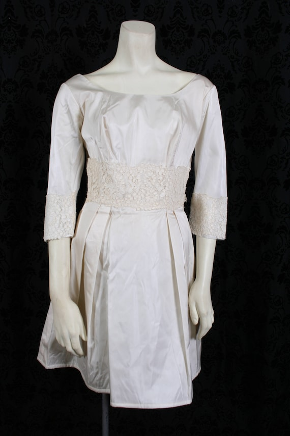 vintage 60s ivory TAFFETA WEDDING DRESS mini gown