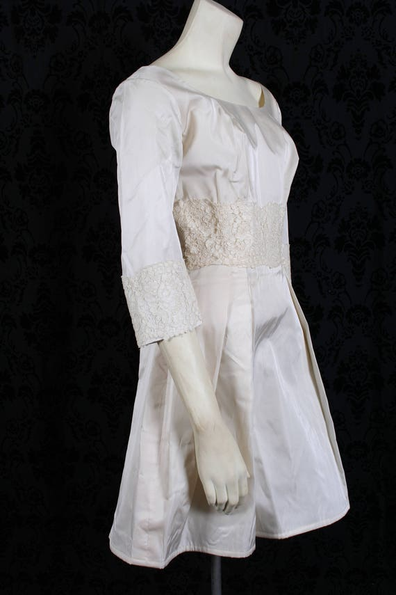 vintage 60s ivory TAFFETA WEDDING DRESS mini gown… - image 6