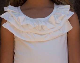 Jazzy Three Ruffle Girls Tank Top in White or Pink