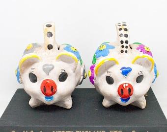 Mexican Ceramic Pig Coin Bank - Your Choice - Decorative Piggy Bank - 70s Rustic Farmhouse Decor - Baby Shower Gift - Nursery Decor