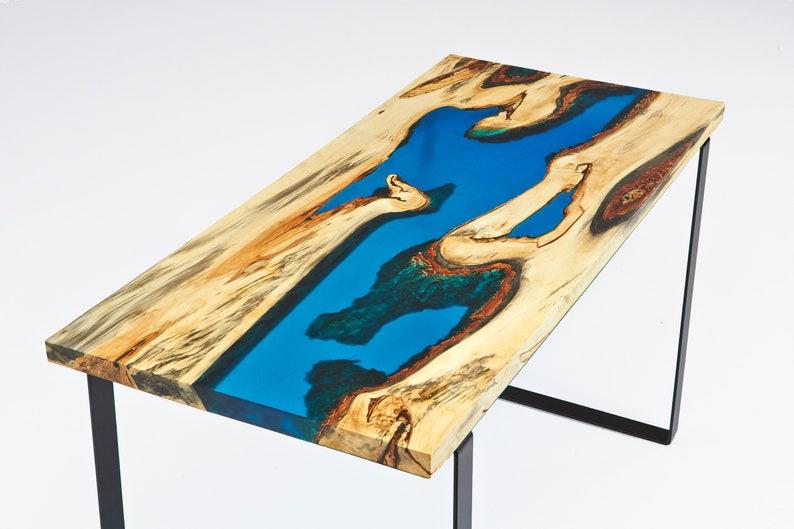 Vivre bord bois bureau table avec rivière en résine etsy