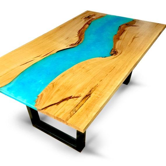 Oak Epoxy Resin River Dining Table Etsy