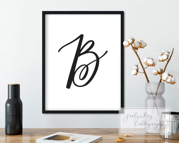 B Monogram Letter Printable Hand Lettered Fancy Calligraphy Etsy