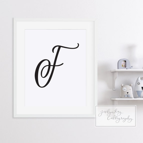 picture about Printable Fancy Lettering known as F Extravagant Letter Script Printable Hand Lettered Monogram Print Black  White Wall Decor for Child Nursery, Office environment, Marriage ceremony Decor