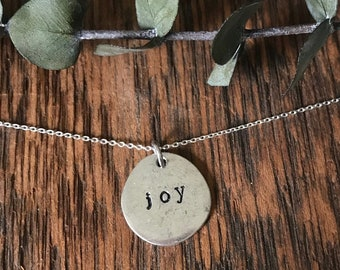 Joy Necklace - Sterling Silver Necklace - Hand Stamped Necklace - Personalized Jewelry - Word of the Year