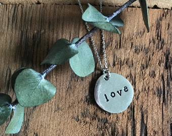 Love Necklace - Sterling Silver Necklace - Hand Stamped Necklace - Personalized Jewelry - Word of the Year
