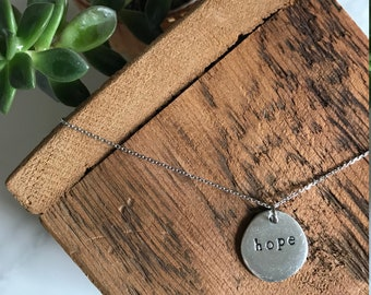 Hope Necklace - Sterling Silver Necklace - Hand Stamped Necklace - Personalized Jewelry - Word of the Year