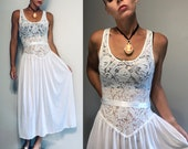 Vintage 70s Long Slip Dress with lace bodice and satin rosette by Victoria s Secret Union Made Slip dress