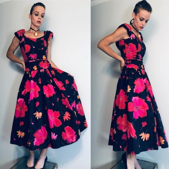 Vintage 80s Laura Ashley Prom Dress, Black Floral