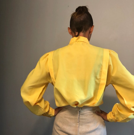Vintage Yellow Pleated Secretary Blouse with Puff… - image 4