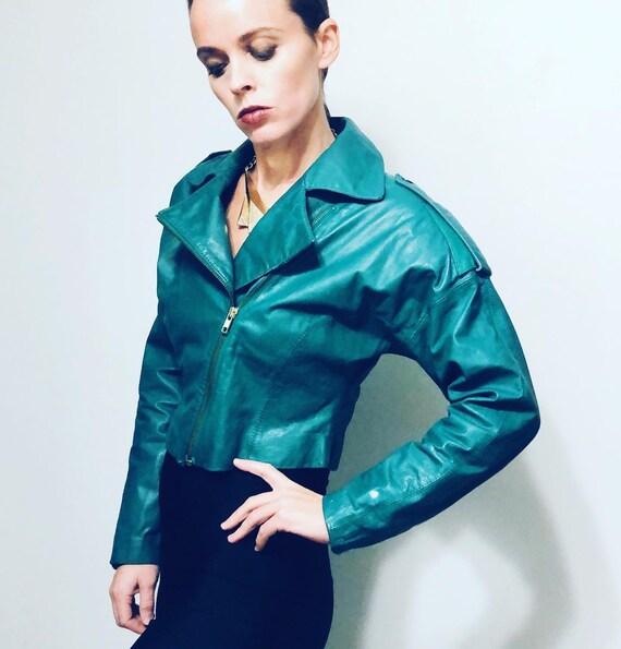80s Crop Leather jacket w Shoulder pads