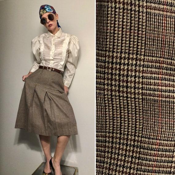 Vintage High Waisted Pleated Midi Skirt| 70s wool