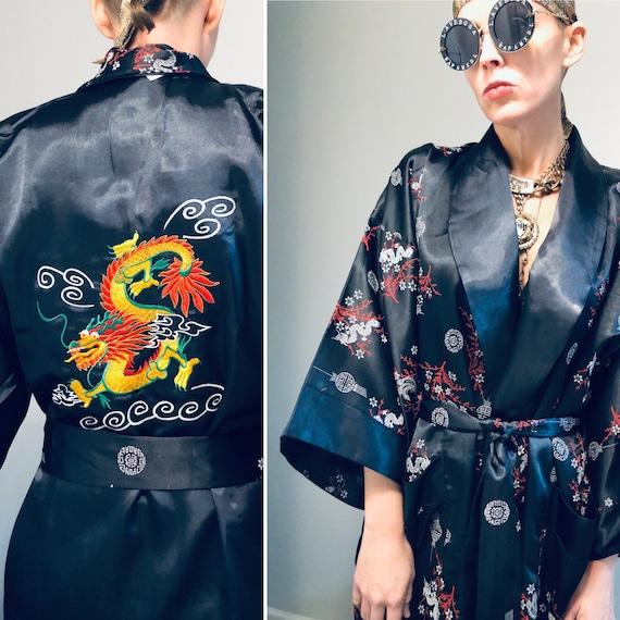Vintage Black embroidered Kimono| Authentic Orient
