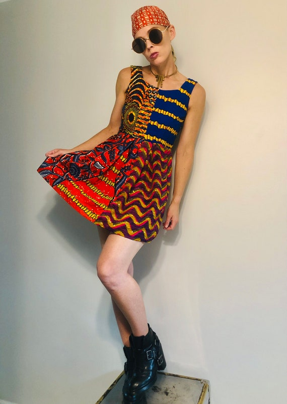 African patchwork dress XS - image 4