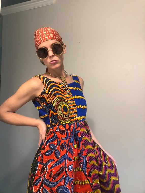 African patchwork dress XS - image 6