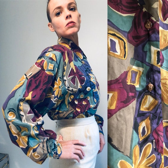 Vintage 80s printed Silk Secretary Blouse with sho