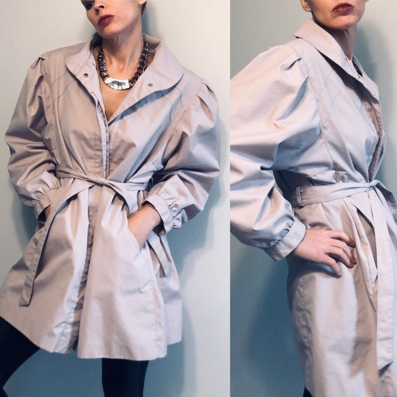 70s Pao Trench Coat with Puff Sleeves