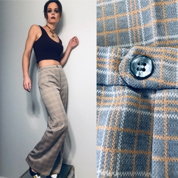 70s leisure pants, high waisted bell bottoms