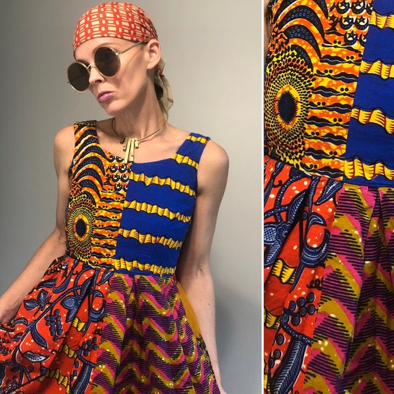 African patchwork dress XS - image 1
