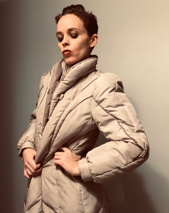 70s 80s Long Puffer Coat with Puff sleeves