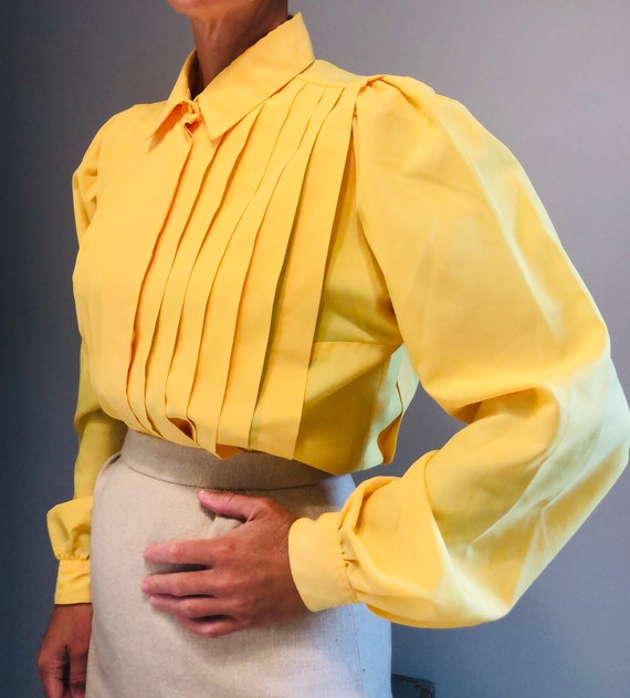 Vintage Yellow Pleated Secretary Blouse with Puff… - image 5