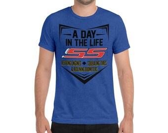 acc8348b CAMARO SS themed muscle car Men's Short-Sleeve Tr-blend T-Shirt - Men's Chevy  Camaro T-shirt,Men's Camaro V8 T-shirt,Gift for Camaro owner