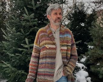 Hand knitted mens wool cardigan, long, original design
