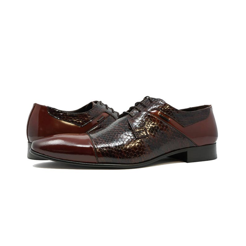 Futoli Men Handmade 100/% Genuine Leather Oxford Tuxedo Derby Dress Shoes Snake Skin Accent Zep Shoes