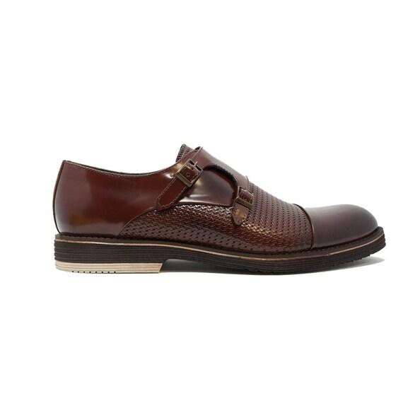 4f0565f50876d Futoli Men 100% Genuine Leather Double Monk Fahsion Dress Shoes Handmade -  Zep Shoes
