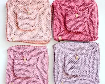 Eco friendly Handmade Cotton Washcloths and Soap Saver Set, Soap Sack, Natural Washcloths, Spa Set