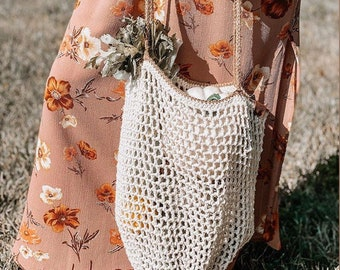 Market Bag, Farmer's Market Tote, Cotton Bag, Machine Washable, Reusable Grocery Bag, Produce Bag, Shopping Bag,  Hay Net Bag, Natural Fiber