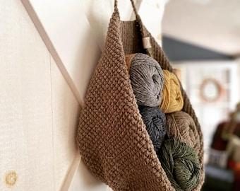 Hanging basket, Handmade, Knit, Crochet, Hobo, Modern Handbag, Wool, Natural, Bucket basket, Round Bag, Purse