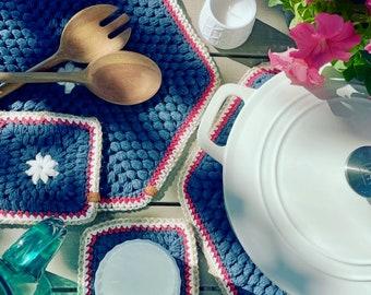 Coaster, Handmade, Table decor, farmhouse coaster, knit, crochet, kitchen, Independence Day