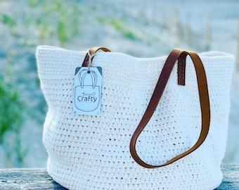 Handmade Tote Bag, Tote, Market Bag, Bag, Beach Bag, Everyday Bag, Purse, Crocheted, Knit, Cotton, Natural, Hay Market Tote Bag