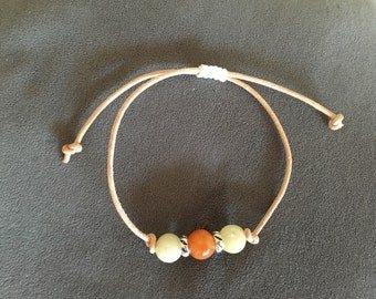Bracelet leather and jade beads