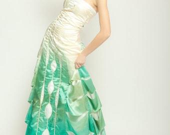 b017f1d7a6b9 Ombre Wedding Dress, Green, Seafoam, Art Deco Inspired, Beach Wedding Dress,  Silk Dress, Gradient Evening Gown, Teal, Turquoise, Artistic