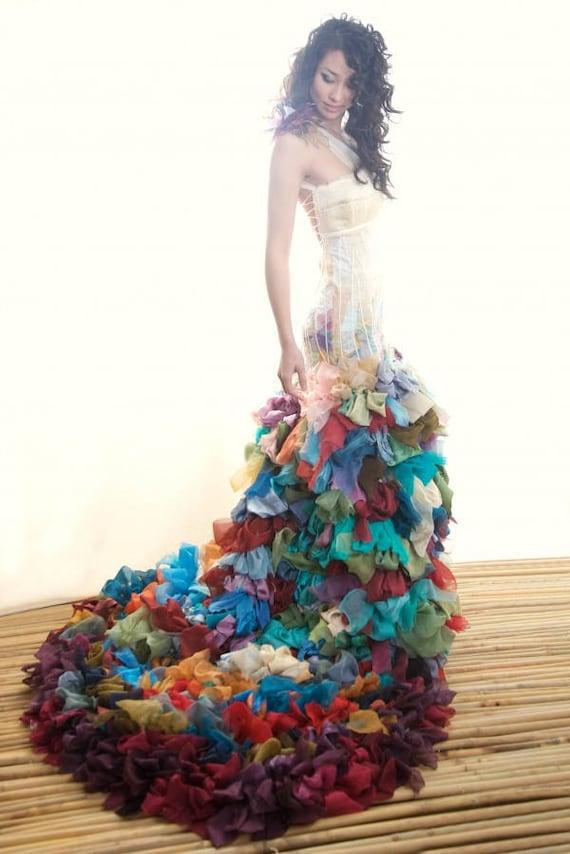 Rainbow Wedding Dress Colorful 100% Silk Boho Wedding Gown | Etsy