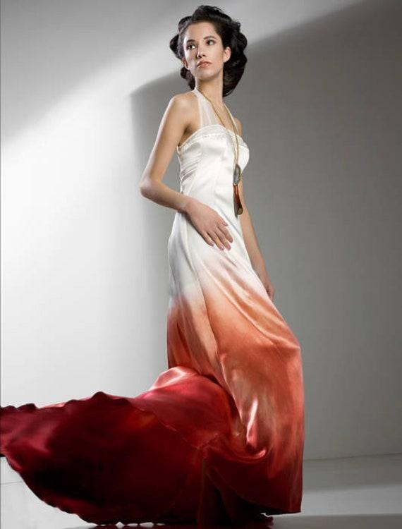 Ombre Wedding Dress Gradient Wedding Dress Silk Wedding Dress Beach Wedding Dress Boho Wedding Dress Red Wedding Dress