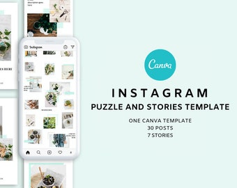 Canva Instagram Puzzle and Story Templates Pack | Full Customizable | Minimalist Instagram Puzzle Feed | Modern Instagram Puzzle Grid Layout