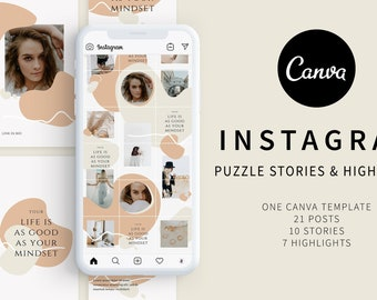 Canva Instagram Puzzle Story & Highlights Templates Pack | Full Customizable | Minimalist Instagram Puzzle Feed | Abstract Instagram Puzzle