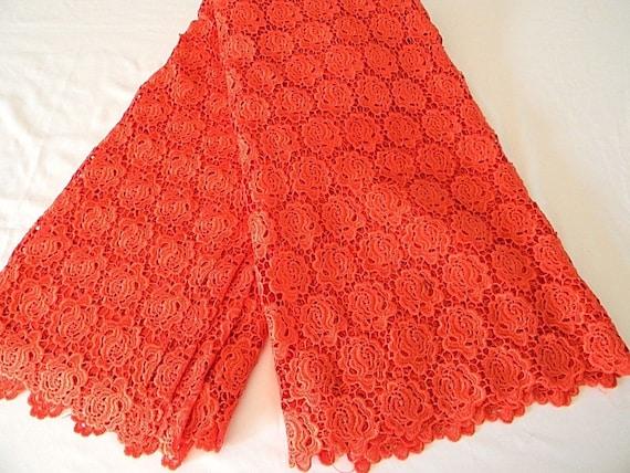 Tissu dentelle guipure dentelle tissu africaine / / / nigérian cordon dentelle / Africain mariage dentelle dentelle/Guipure cordon rouge motif Floral / 5Yards /G009 8af151