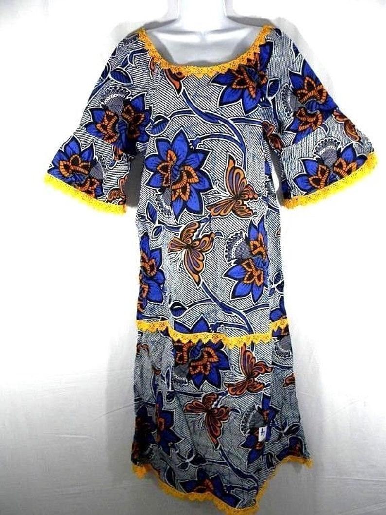 Ankara dressAfrican wax dressAfrican wax clothingAfrican wax bell sleeve gripure dressAnkara summer dressRobe AfricaineApprox Size M