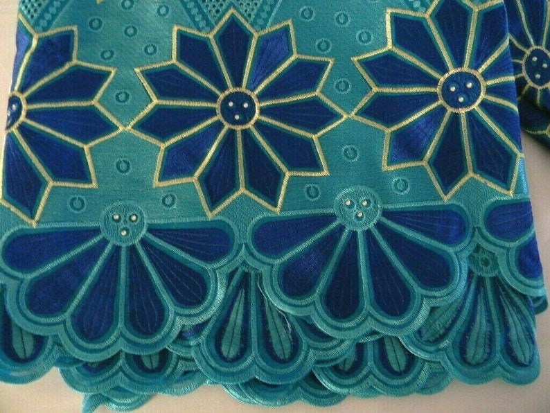 Swiss Voile LaceSewing FabricCottonPoly Lace Fabric With StonesQuality African Voile LaceEmbroidered Pattern Blue5 Yards #024