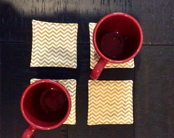 Set of 4 Coasters, Linen Coasters, Gold Chevron Coasters, Four Coasters