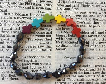 Rainbow crosses bracelet! SHIPS IMMEDIATELY from USA! Gifts for her, gifts for him, gifts for them!