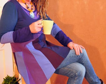 Purple tunic upcycled Tricot Patchwork size M-L Colorful hippie