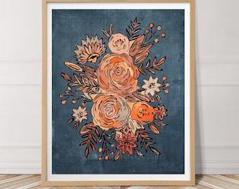 Modern Abstract Floral Rose Boho Plant Printable Wall Art Botanical Flower Navy Orange Neutral Art Digital Downloadable Instant download